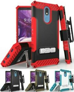 Tri-Shield Rugged Case Cover + Belt Clip Holster + Strap for LG Harmony 3 LMX420