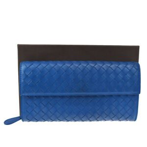 Auth Bottega Veneta Intrecciato Long Bifold Wallet Leather Blue Italy 62BS138
