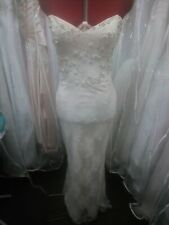 Ivory Silk And French Lace Boho Wedding Dress Size 10 Sample