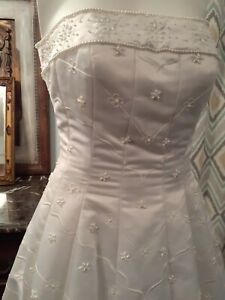 Beautiful Vintage Quilted Beaded Strapless Wedding Dress