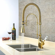 Rozinsanitary Brass Kitchen Sink Faucet Single Handle Gold Pull Down Mixer Tap