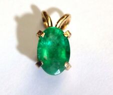 14K Yellow Gold .67CT Natural Glowing Green Colombian Emerald Solitaire Pendant