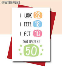 50th birthday Birthday Card for mum dad friend sister brother best friend funny