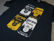 CORONA 4 DIFFERENT CANS ON FRONT L T SHIRT Tee Shirt top beer bar draft NEW