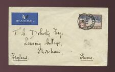 CEYLON BANDAPOLA 1940 SINGLE FRANKING 1R COMB.PERF AIRMAIL to SHOREHAM GB