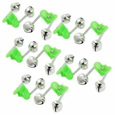10 Pcs Green Spring Loaded Clip Double Fishing Rod Alarm Bells DT