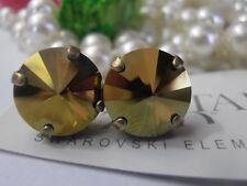 Swarovski Earrings Rivoli Studs Iridescent Green Antique Bronze Post Earrings