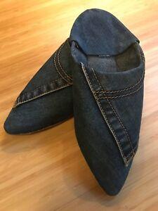 Moroccan Women Jeans Shoes Handmade Dark Blue Flat Slippers Genuine 💯% (size 6)