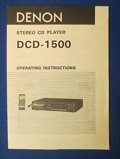 Denon Dcd-1500 Cd Owner Operating Manual Factory Original The Real Thing