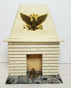 """Vintage Wood Fireplace American Eagle Faux Marble Base 8x6.25"""""""