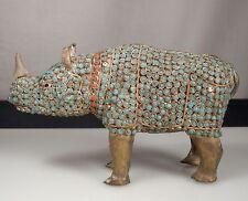Vintage Turquoise Coral & Brass RHINO Figurine -Nepal/Tibet