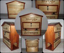 Briefkasten / Holzbriefkasten mit Zeitungsfach, aus Fichtenholz (lackiert)