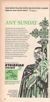 1965 Original Advertising' Vintage Ethiopian Airlines IN Coptic Deacon At Axum