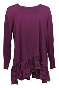 LOGO by Lori Goldstein Women's Top Sz XL Tee w/ Step Eyelet Hem Purple A370618