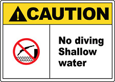 CAUTION! NO DIVING. SHALLOW WATER | Adhesive Vinyl Sign Decal
