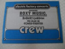 Roxy Music - backstage CREW pass -Tower Theater Upper Darby PA