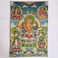 """36"""" Tibet Tibetan Cloth Silk Wenshu Manjushri Kwan-yin Tangka Thangka Mural 文殊菩萨"""