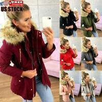 Women's Winter Warm Hooded Coat Outwear Fur Collar Jacket Parka Overcoat Peacoat
