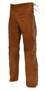 """30"""" Mens Native American Brown Cowhide suede leather Jeans style pants with frin"""
