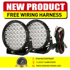 Pair 9inch 99999W LED OSRAM ROUND Driving Spot Work Lights Offroad SUV Spotlight