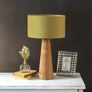 Rustic new Felix Wood Table Lamp with Drum Shade