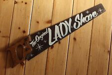 "Saucy Saw Sign ""Original Lady Shave"" Plaque Barber Shop VW Man Cave"