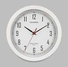 CHAMPION Bold 10 inch Diameter Office Master Quartz Wall Clock (WHITE)