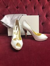 7320145642 Mario Bologna Flirt Nuvola Bianco White Patent Leather Art Deco Gold Heels  37
