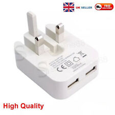 UK Mains Foldable Double USB Plug Phone Charger for Samsung S7/S8 iPhone 6 White