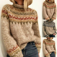 Womens Sweater Jumper Casual Tops Jersey Size UK8 22 Half-Collar Winter Knitted