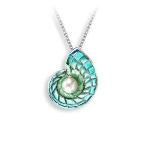 Nicole Barr Blue Nautilus Sterling Silver Plique-a-Jour Vitreous Enamel and F...