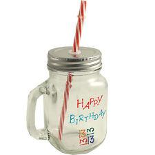 13th Anniversaire Style Vintage Maçon Pot Verre Tasse avec couvercle et Straw