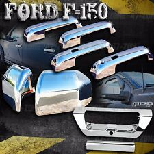 For F150 Chrome 4 Door Handle Side Mirror Tailgate Handle Cover Set Overlay Trim