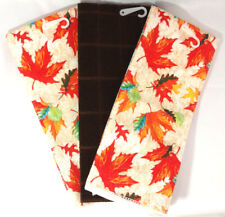Kitchen Towels Set of 3 Fall Autumn Leaves Orange Green Yellow Blue Decor Linens