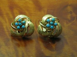14kt 585 Yellow Gold Ear Clips With 0,36ct Turquoise Decorations/Earrings/7,6g
