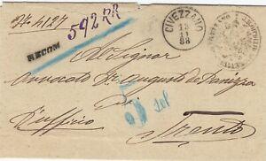AUSTRIA (Y392) 1888 registered letter canc. CIVEZZANO  to  Trento