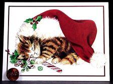 Vintage Adorable Tabby Kitten Cat Sleeping Santa Hat Candy Christmas Card Unused
