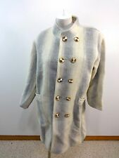 VINTAGE ASIAN MADE WOMENS GRAY & CREAM WOOL COAT SIZE XL