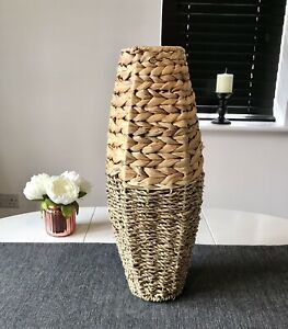 Woven Bamboo And Seagrass 45cm Tall Freestanding Floor Vase Home Decoration