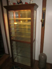2 Illuminated Solid Wood Glass Front Display Cases.