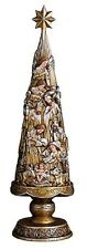 """Nativity Gold and Silver Christmas Tree Figurine 21"""" H"""