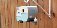 Turquoise and Ivory Shasta Trailer Birdhouse Caravan Birdhouse with Wings!
