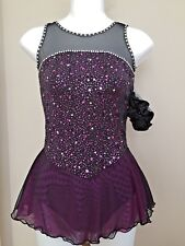 Icings NWT BLACK/PURPLE COMPETITION ROLLER ICE SKATING DANCE BATON DRESS