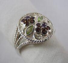 NIB Sterling Silver Peridot Garnet Amethyst Flower Ring Size 8 NEW NEVER WORN