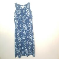 Lisa Jo Womens Blue Floral Round Neck Sleeveless Pullover Long Dress Size 9/10