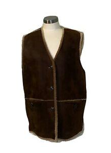 New Timberland Men's Warm Large Lambskin Leather Sheepskin Lined Vest
