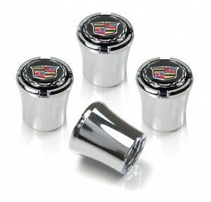 Cadillac Logo Tire Valve Stem Caps Black and Silver Set of 4 MADE IN USA