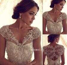 Gorgeous White/Ivory Lace Shawl Bolero Wedding Jacket Crystal Bridal Wrap Custom