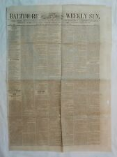 'Baltimore Weekly Sun' Newspaper Jan. 23, 1858 A.S. Abell & Co Maryland