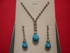 "Blue Howlite, Austrian Crystal Earrings & Necklace Set 20"" in Stainless Steel"